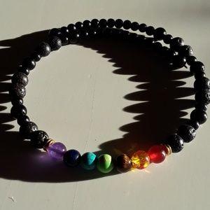 Lava Bead Chakra Choker Necklace